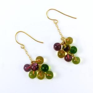 "Boucles d'oreille en verre de Murano ""Raisin"" - Elodie Pavie"
